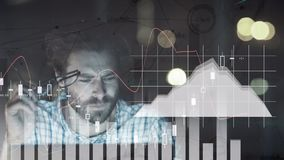 Composition of man surrounded by stock prices and graphics. Digital composite of Caucasian man working in financial project surrounded by animation of stock stock illustration