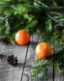 Composition with mandarins, spruce branches and cones on an aged wooden background Royalty Free Stock Photography