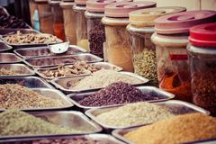 Composition of many different spices teas and herbs Stock Photos