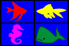 Composition of marine animals royalty free stock photo