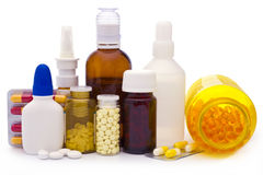 Composition of medicine bottles and pills Stock Image