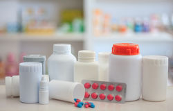 Composition of medicine bottles and pills Royalty Free Stock Photo