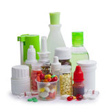 Composition of medicine bottles and pills Royalty Free Stock Image