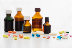 Composition of medicine bottles and pills Royalty Free Stock Photos