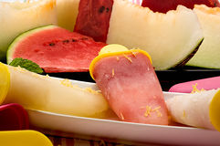 Composition with melon and watermelon ice cream Stock Photo