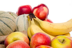 Composition of melons, nectarines, apples and bananas Stock Image