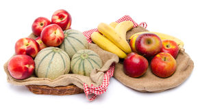 Composition of melons, nectarines, apples and bananas Royalty Free Stock Photography