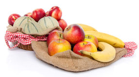 Composition of melons, nectarines, apples and bananas Royalty Free Stock Images