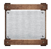 Composition of metal aluminum plaque, name plate Stock Image