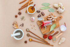 Composition of Mixed spices and herbs background cinnamon stick Stock Photo