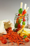 The composition of a mixture of dried fruit and goji berries Royalty Free Stock Photography