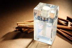 Composition with modern male perfume. On color background Stock Photography