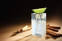 Composition with modern male perfume. On color background Royalty Free Stock Photo