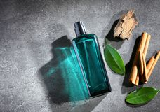 Composition with modern male perfume. On grey textured background Royalty Free Stock Photo