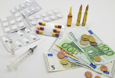 Composition with money, bullets, drugs Stock Photos