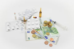 Composition with money, bullets, drugs Royalty Free Stock Images