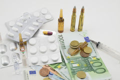 Composition with money, bullets, drugs Royalty Free Stock Photo