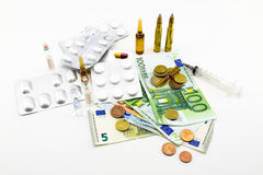 Composition with money, bullets, drugs Stock Photography