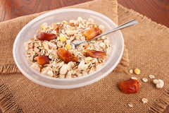 Composition with muesli breakfast Stock Photos