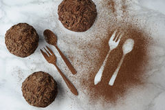 Composition of muffins, fork and spoon Royalty Free Stock Photo