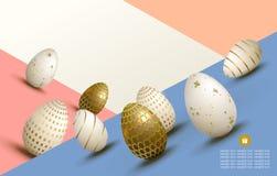 Composition multicolore en Pâques avec un ensemble d'oeufs dessinés dans la pente, illustration stock