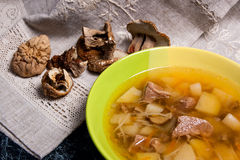Composition with mushroom soup in green plate, dried wild mushro Royalty Free Stock Photography