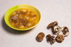 Composition with mushroom soup in green plate, dried wild mushro Stock Photos