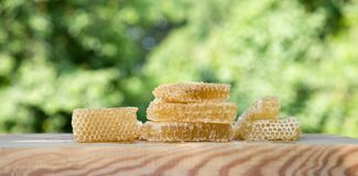 Fresh light bee honey in pieces of honeycombs on a white wooden rustic table with blur background. Stock Photography