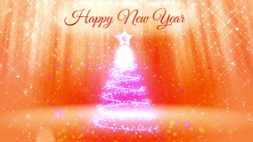 Composition for New Year or Christmas holidays with 3d Christmas tree from glowing particles and sparkles. With light