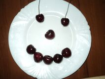 Berry smile on the plate. Composition no the plate with berry desert like a smile  always good as a fitnes diet  and muscule eyes are stronger Royalty Free Stock Photo
