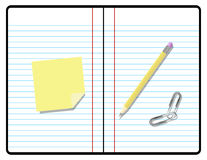 Composition Notebook with Pencil, Paper and Sticky Royalty Free Stock Photos
