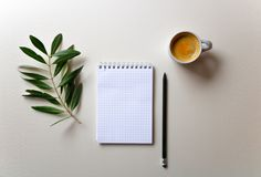 Morning coffee composition with the notepad and pencil stock photos