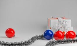 Composition nouveau an en fond avec les boules brillantes Images stock