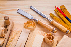 Composition od joinery tools chisels woodworkers Royalty Free Stock Photography