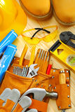 Composition Of Carpentry Tools On Wooden Boards Stock Image