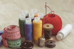 Composition Of Seamstress, Tailor, Thread For Sewing And For Knitting Stock Photos