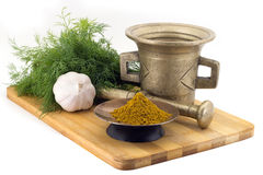 Free Composition Of Spices, Kari Spice Mix, Dill, Garlic, Vintage Spice Grinder Isolated On White Background Royalty Free Stock Images - 94313799