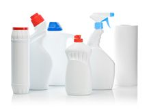 Composition Of White Bottles For Cleaning Stock Photos
