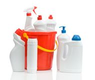 Composition Of White Cleaners With Red Bucket Stock Photography