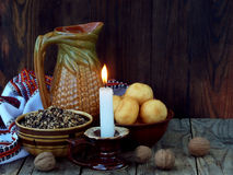 Free Composition Of Xmas Symbol Kutya Wheat Porridge With Poppy And Nuts , Pampushki, Uzvar Compote Of Dried Fruits , Burning Candle On Royalty Free Stock Photos - 99202148