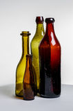 Composition of old brown bottles Royalty Free Stock Photos