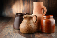 Composition with old pottery. Kitchen dishes.  Royalty Free Stock Photo