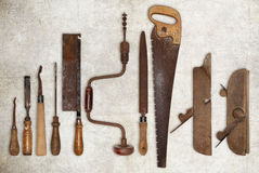 Composition of old tools for wood Stock Images