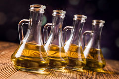 Composition of olive oils in bottles Royalty Free Stock Image