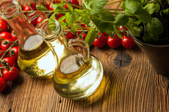 Composition of olive oils in bottles Stock Images