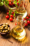 Composition of olive oils in bottles Royalty Free Stock Photos