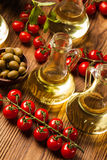 Composition of olive oils in bottles Royalty Free Stock Photography