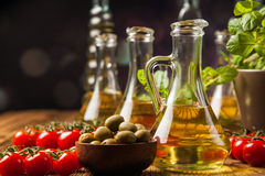 Composition of olive oils in bottles Stock Photography