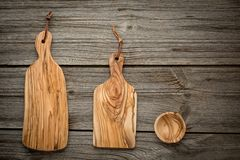 Composition with olive wood board on top of oak Royalty Free Stock Images