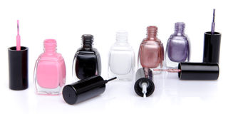 Composition with open nail polish bottles Royalty Free Stock Photo
